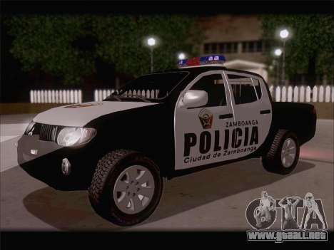 Mitsubishi L200 POLICIA para GTA San Andreas vista posterior izquierda