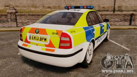Skoda Superb 2006 Police [ELS] Whelen Edge para GTA 4 Vista posterior izquierda