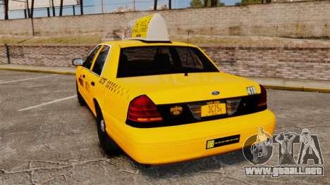 Ford Crown Victoria 1999 NYC Taxi v1.1 para GTA 4 Vista posterior izquierda