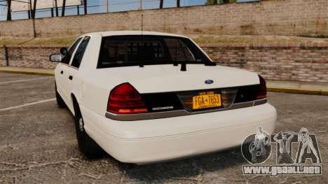Ford Crown Victoria 1999 Unmarked Police para GTA 4 Vista posterior izquierda