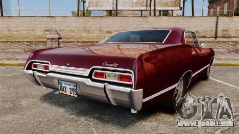 Chevrolet Impala 1967 para GTA 4 Vista posterior izquierda