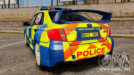 Subaru Impreza WRX STI 2011 Police [ELS] para GTA 4 Vista posterior izquierda