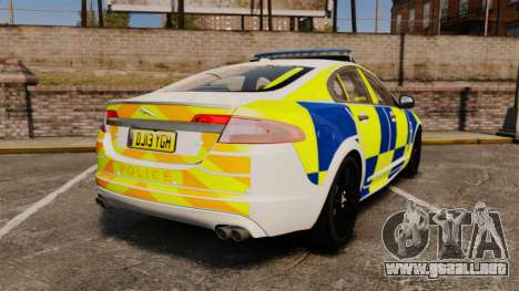 Jaguar XFR 2010 Police Marked [ELS] para GTA 4 Vista posterior izquierda