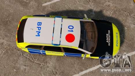 Audi RS6 Avant Metropolitan Police [ELS] para GTA 4 visión correcta