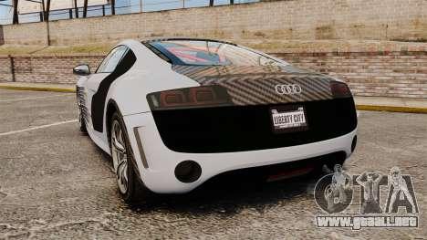 Audi R8 GT Coupe 2011 Drift para GTA 4 Vista posterior izquierda