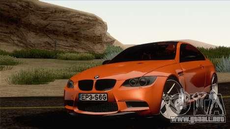 BMW M3 E92 2008 Vossen para la visión correcta GTA San Andreas