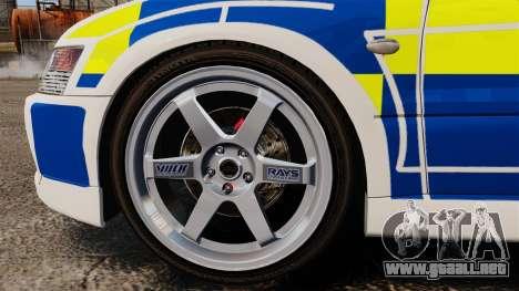 Mitsubishi Lancer Evolution IX Police [ELS] para GTA 4 vista hacia atrás