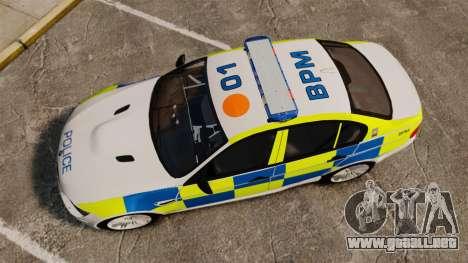 BMW M3 British Police [ELS] para GTA 4 visión correcta