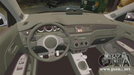 Mitsubishi Lancer Unmarked Police [ELS] para GTA 4 vista interior