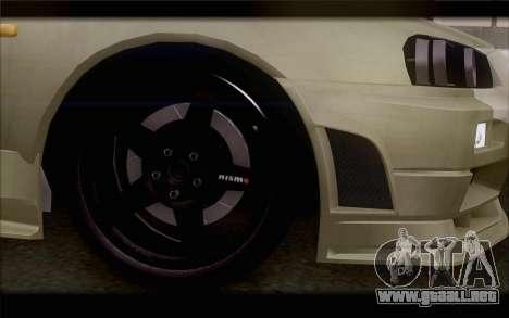 Nissan Skyline R34 Z-Tune para GTA San Andreas vista posterior izquierda