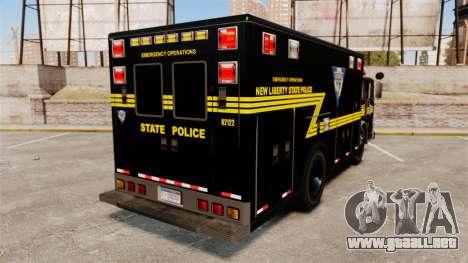 Hazmat Truck NLSP Emergency Operations [ELS] para GTA 4 Vista posterior izquierda
