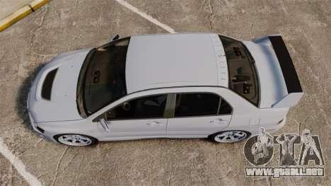 Mitsubishi Lancer Unmarked Police [ELS] para GTA 4 visión correcta