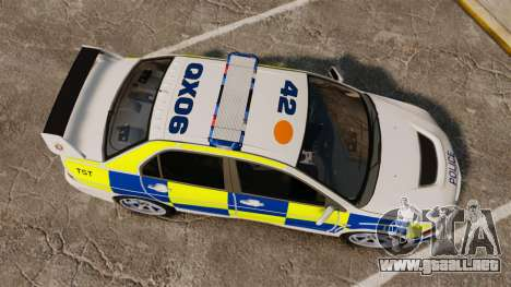 Mitsubishi Lancer Evolution IX Police [ELS] para GTA 4 visión correcta