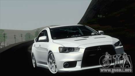 Mitsubishi Lancer X Evolution para visión interna GTA San Andreas
