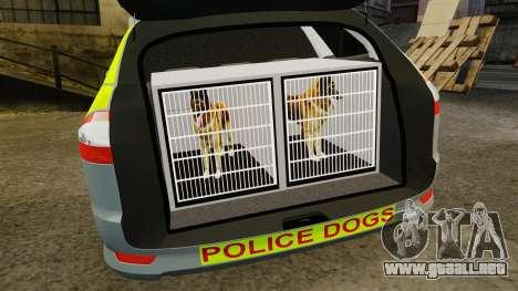 Ford Mondeo Metropolitan Police [ELS] para GTA 4 vista lateral