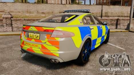 Jaguar XFR 2010 West Midlands Police [ELS] para GTA 4 Vista posterior izquierda