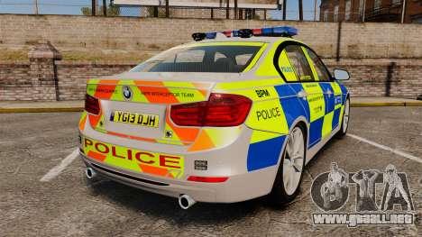 BMW F30 328i Metropolitan Police [ELS] para GTA 4 Vista posterior izquierda