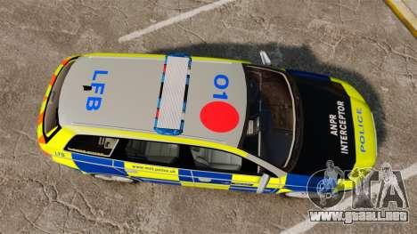 Audi S4 Avant Metropolitan Police [ELS] para GTA 4 visión correcta