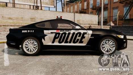 Ford Mustang GT 2015 Police para GTA 4 left