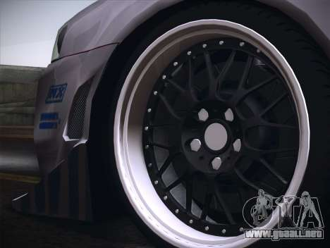 Nissan Skyline R34 FnF para GTA San Andreas vista hacia atrás