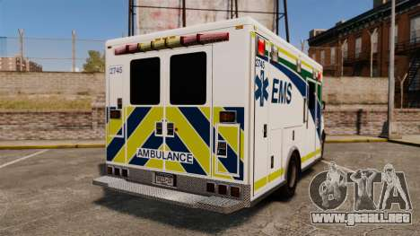 Brute Alberta Health Services Ambulance [ELS] para GTA 4 Vista posterior izquierda