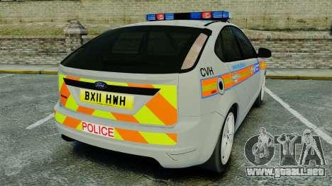 Ford Focus Metropolitan Police [ELS] para GTA 4 Vista posterior izquierda
