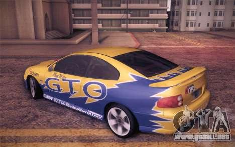 Pontiac GTO 2005 para vista inferior GTA San Andreas
