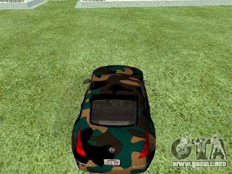Nissan 350Z para GTA San Andreas vista hacia atrás