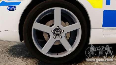 Volvo V70 II Swedish Police [ELS] para GTA 4 vista hacia atrás