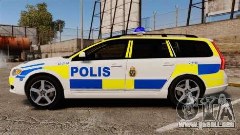 Volvo V70 II Swedish Police [ELS] para GTA 4 left