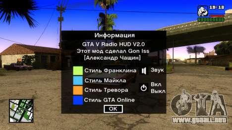 GTA 5 Radio HUD para GTA San Andreas segunda pantalla