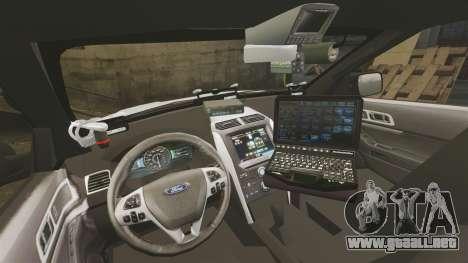 Ford Explorer 2013 LCPD [ELS] v1.5X para GTA 4 vista hacia atrás