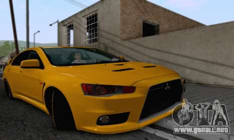 Mitsubishi Lancer X Evolution para GTA San Andreas vista hacia atrás