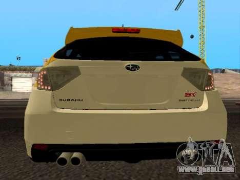Subaru Impreza STi para GTA San Andreas vista posterior izquierda