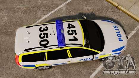 Volvo V70 II Swedish Police [ELS] para GTA 4 visión correcta