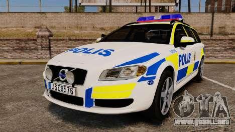 Volvo V70 II Swedish Police [ELS] para GTA 4
