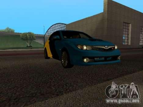Subaru Impreza STi para GTA San Andreas vista hacia atrás