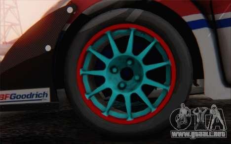 Ford Fiesta Omse HillClimb para GTA San Andreas vista posterior izquierda