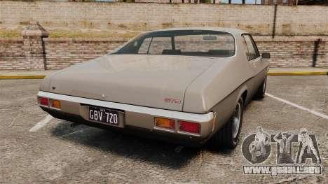 Holden Monaro GTS 1971 para GTA 4 Vista posterior izquierda