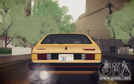 Volkswagen Scirocco S (Typ 53) 1981 IVF para vista inferior GTA San Andreas