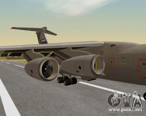 Il-76md-90 (IL-476) para GTA San Andreas vista hacia atrás
