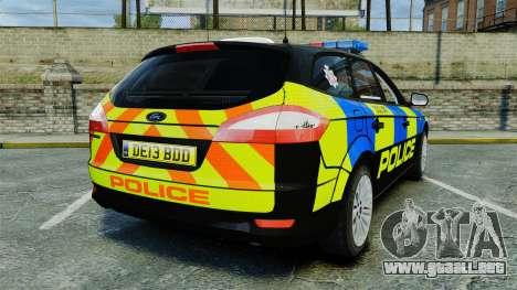 Ford Mondeo Estate Police Dog Unit [ELS] para GTA 4 Vista posterior izquierda