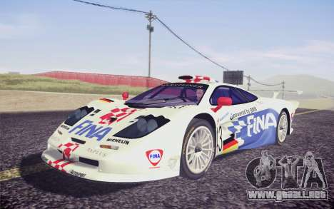 McLaren F1 GTR Longtail 22R para GTA San Andreas vista hacia atrás