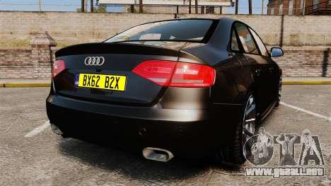 Audi S4 Unmarked Police [ELS] para GTA 4 Vista posterior izquierda