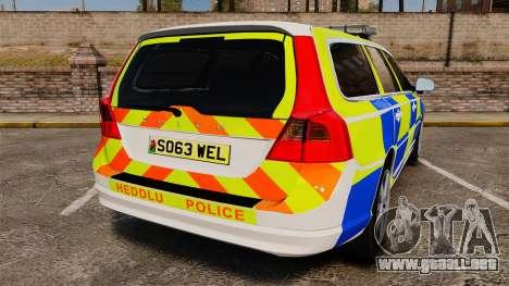 Volvo V70 South Wales Police [ELS] para GTA 4 Vista posterior izquierda