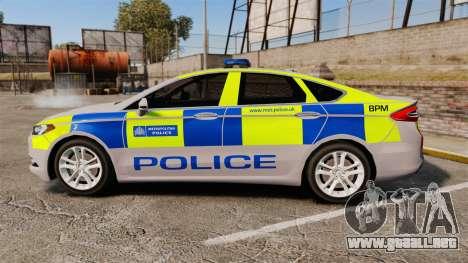 Ford Mondeo 2014 Metropolitan Police [ELS] para GTA 4 left