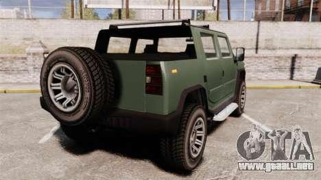 Patriot pickup para GTA 4 Vista posterior izquierda