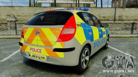 Hyundai i30 Metropolitan Police [ELS] para GTA 4 Vista posterior izquierda