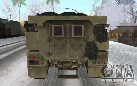MRAP de BF4 para GTA San Andreas vista posterior izquierda