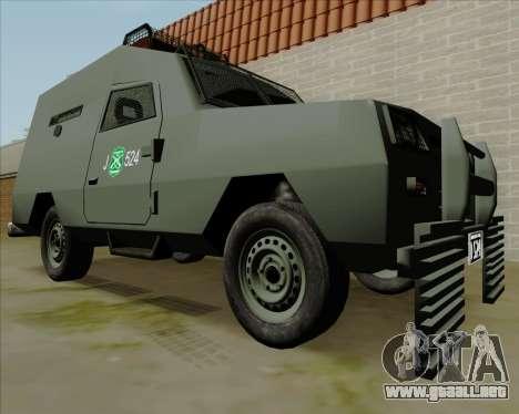 Zorrillo FF.EE para GTA San Andreas vista posterior izquierda